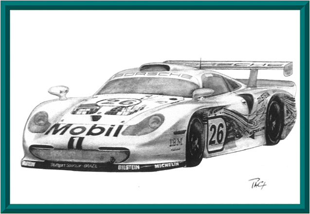 Porsche 911 gt1 1997 dessin artek expo pa coutarel for Plans de dessins de porche